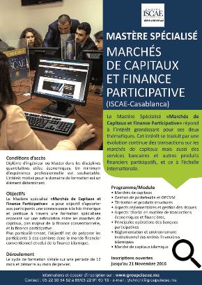 Mastère spécialisé Marchés de capitaux et finance participative à l'ISCAE Casablanca