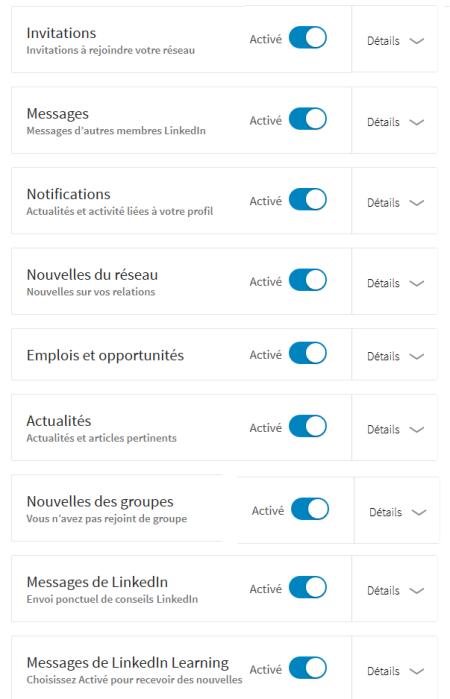 Préférences e-mail LinkedIn