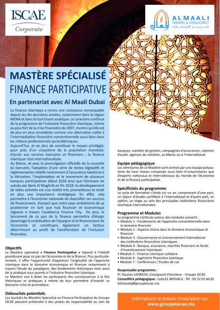 Master Finance Participative ISCAE